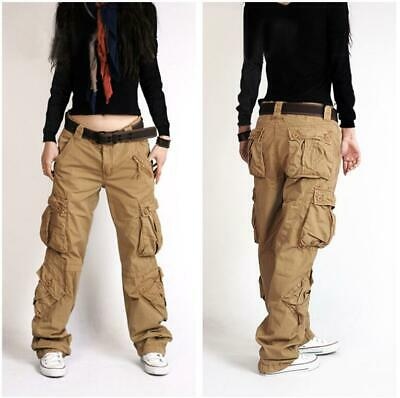 Women Lady Cargo Hiphop Trousers Pants Outdoor Military Pocket Casual Overall Sz