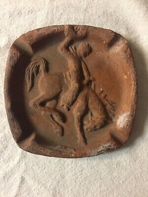 Vintage Clay Old West Ashtray Bucking Bronco Cowboy Unbranded