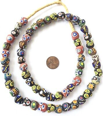 Ghana African assortment colored Recycled glass trade beads-Ghana Beads