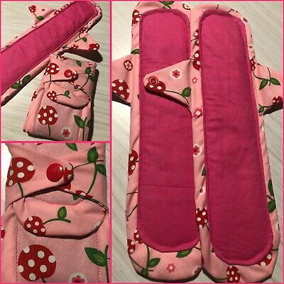2 Longer Cloth Menstrual Pads Reusable Night Heavy Period Protection Cherry Pink