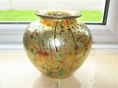 """Isle of Wight Studio Glass Summer Fruits Collection """"Goldberry"""" Iridescent Vase"""
