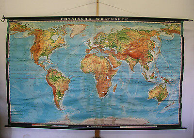 Schulwandkarte Beautiful Old Physical World Map 269x164cm Vintage World Map 1969