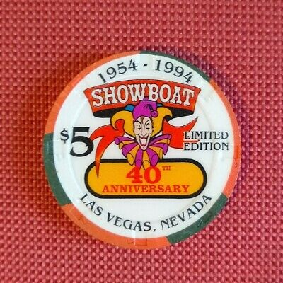 Showboat Casino Las Vegas 40th Anniversary 1954 - 1994 $5 CHIP LIMITED EDITION