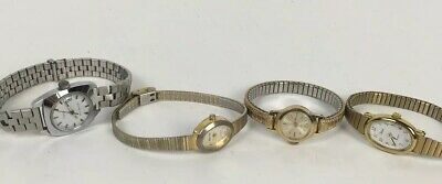 Lot Of 4 Vintage Timex Westclox Watches Wind Up Gold Band Speidel Band