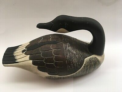 Vintage Large Hand Carved Painted Wood Canadian Goose Duck Decoy Initials PC