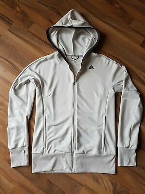 Adidas climalite ladies full zip hoodie size12 in ivory with 3m reflect sections