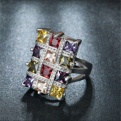 925 Silver Multi Color Topaz Gemstone Ring Wedding Jewelry Gift Woman Size 6-10