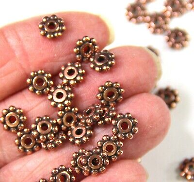 TierraCast 6 mm. Heishi Beaded Daisy Spacer Beads, Antique Copper Plated, 0718