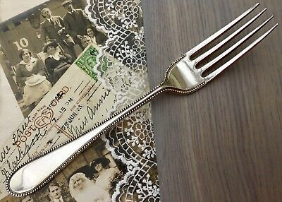 """MAPPIN & WEBB FORK x1 PRINCES PLATE BEADED ANTIQUE CUTLERY SHEFFIELD """"GOTHIC M"""""""