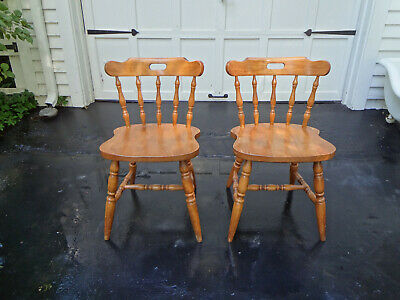 2 Antique Ethan Allen Nautical Maple Windsor Ship Captains Tavern Dining Chairs