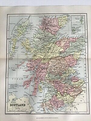 Old Antique Map 1892, Bartholomew, AK Johnston, SCOTLAND
