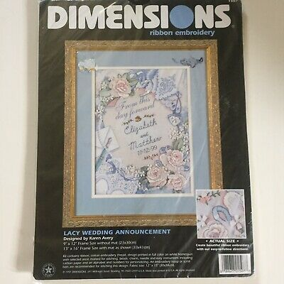 Dimensions Lacy Wedding Announcement Ribbon Embroidery Kit Karen Avery 1997 NEW