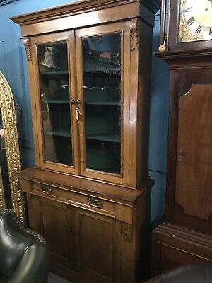 victorian Mahogany Perfect Two Piece Bookcase Antique
