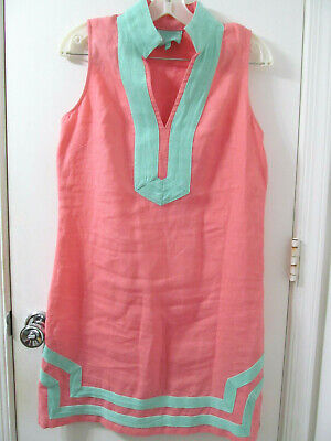 STS Sail to Sable sz SML Coral Pink Sleeveless Classic Tunic linen dress $188