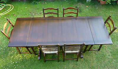 Ercol Elm Extending Draw Leaf Dining Room Table + 6 Ercol Golden Dawn Chairs