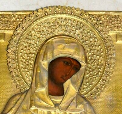 1850 Russian Royal Imperial Orthodox Christianity Icon Mother Deesis Egg Tempura