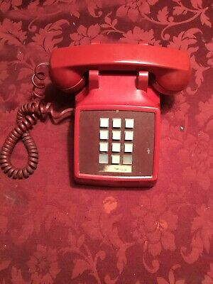 Vintage RED Touch Tone TELEPHONE Push Button Desk Phone  BELL