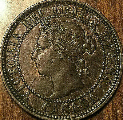 1884 CANADA LARGE CENT LARGE 1 CENT PENNY - Obverse #2 variety