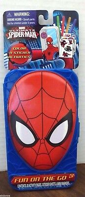 Spider-Man Color & Stickers Fun on the Go Travel Play Set (New)