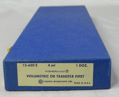 Vintage Fisher Volumetric or Transfer Pipet 4ml 13-650 E Qty 12