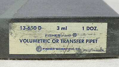 Vintage Fisher Volumetric or Transfer Pipet 3 ml 13-650 D Qty 12