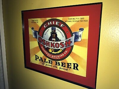 Chief Oshkosh Wisconsin Beer Bar Framed Advertising Print Man Cave Sign2