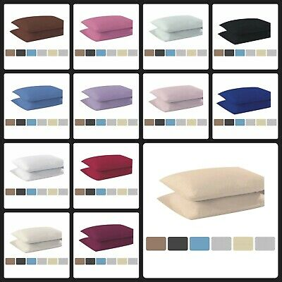 Polycotton Flat Sheet Easy Care Fitted Bed Sheets Plain Dyed Pillowcases 2 Pack