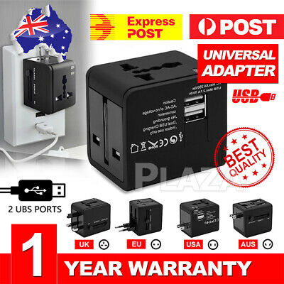 Universal Travel Adapter Dual 2 USB Power Plug to AU EU USA UK Charger Converter