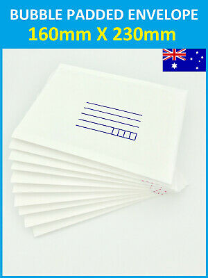 5/25/50pcs NEW AU Bubble Envelope 160mmx230mm Padded Bag Mailer - White Printed