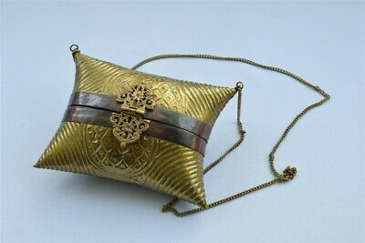 Pillow purse bag or case made from brass and copper with chain vintage