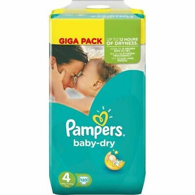 PAMPERS BABY DRY Couches Bébé Taille 4 - 8 à 16 kg - 120 Couches Confortable Fr