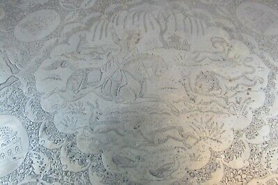 Fantastic Antique Persian India Islamic Hunting Scene Hand Chased Large Tray