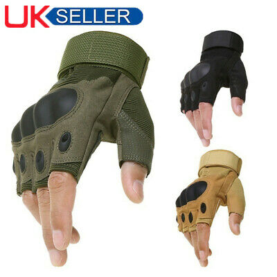 Tactical Hard Knuckle Half Finger Gloves Men's Army Military Airsoft Fingerless