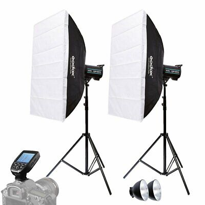 2X Godox QS400II 400W Flash Strobe +Light Stand + Softbox + Xpro-C Trigger Kit