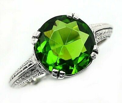 2CT Peridot 925 Solid Sterling Silver Vintage Style Ring Jewelry Sz 7 PR36