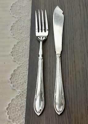 VINTAGE FISH KNIFE AND FORK SET c1920s - EPNS A1 SILVER PLATED CUTLERY
