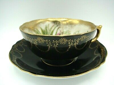 Vintage ROYAL SEALY CHINA Black Gold Floral Iridescent Teacup And Saucer JAPAN