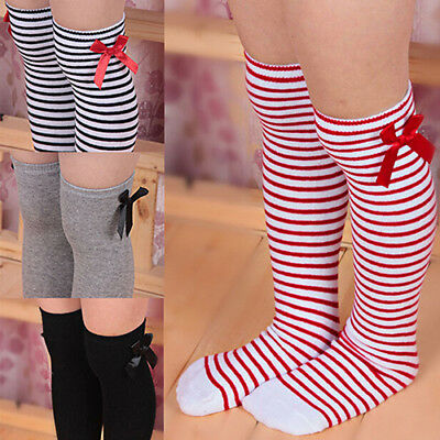 EB_ Girls Cotton Knee Length Socks Kids Bowknot Striped Leg Warmers Daily Candy