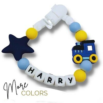 Personalized Dummy Clip Silicon Bead Pacifier Holder Baby Boys  ~BPA free, Train