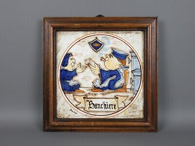 Gubbio Painting Crafts Tile Majolica Painted Banker Bank '900