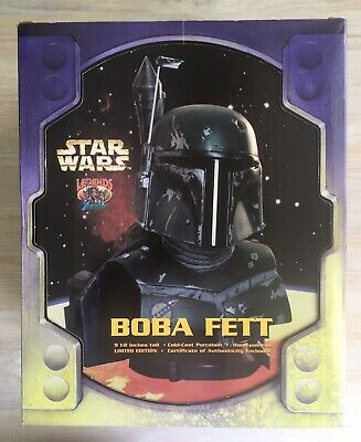 Star Wars Boba Fett Legends in 3D Hand Painted Bust Sculpture Rare ESB Version