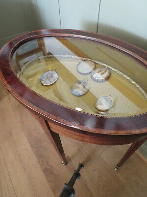 Sheraton Revival Oval Bijouterie Display Table In Figured Walnut