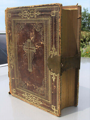 antique c1870 Catholic family Bible Douay Rheims brass clasp