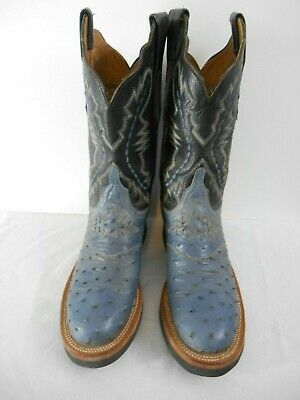 bdc079b20c8 LUCCHESE 2000 BLACK Ostrich Quill & Leather R Toe Cowboy Boots ...