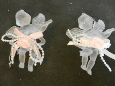 Set of 2 Victorian Style Frosted Plastic Christmas Angels Ornaments Pink Bows