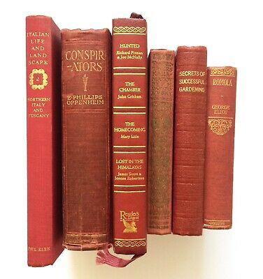 SET of 6 OLD RED HB VINTAGE / ANTIQUE BOOKS Interior Design WEDDING / PUB DECOR