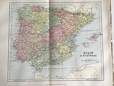 Old Antique Map 1892, Bartholomew, AK Johnston, SPAIN and PORTUGAL