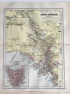 Old Antique Map 1892, Bartholomew, AK Johnston, South Australia, Tasmania