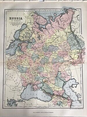 Old Antique Map 1892, Bartholomew, AK Johnston, RUSSIA in Europe