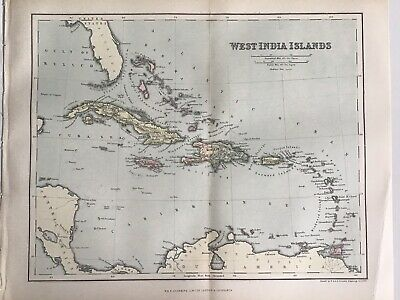 Old Antique Map 1891, Bartholomew, AK Johnston, West India Islands